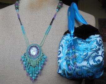 Beaded Abalone Shell Necklace with Beaded Amazonite Tassels / Aventurine / Amethyst / Hematite Semiprecious Stone / Gemstone Beads - OlyTeam