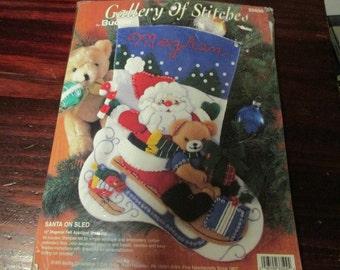 Felt Stocking Kit Santa on Sled Bucilla Gallery of Stitches 33509 Sealed Felt Kit