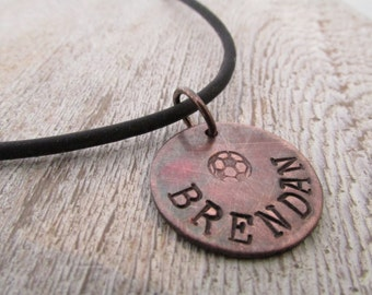 Personalized Necklace - Soccer - Soccer Jewelry - Hand stamped necklace