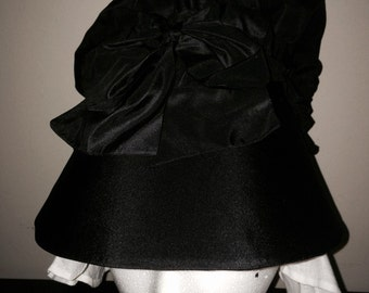 Black Silk Taffeta 18th Century Bonnet