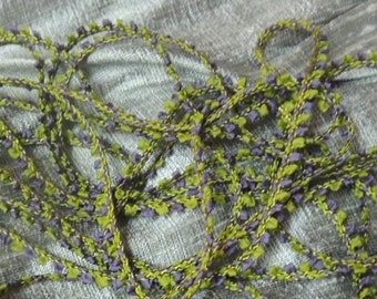 Japanese Mokuba tiny braid in olive green and purple 1 yard