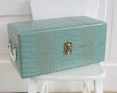Vintage Doll Case Aqua Turquoise Retro Storage Child