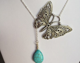 Turquoise necklace, Butterfly Necklace with turquoise drop, Mother's Day gift