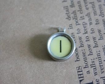 Typewriter Key Pendant Letter I Necklace