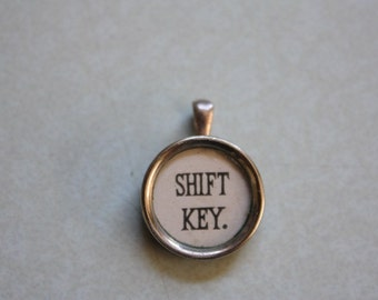 "Typewriter ""Shift Key"" Pendant Necklace on Ball Chain"