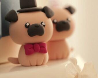 Pug  wedding cake topper-----handmade  Wedding Cake Topper---k874