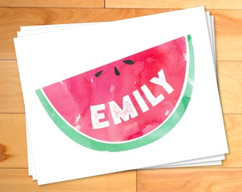 Watermelon, Girls Notecards, Watercolor Notes, Kids Thank you Cards, Custom Childrens Thank You Notes, Personalized Notecards,12