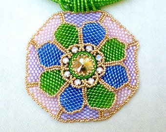 Colorful Statement Necklace  Green Blue Pink Lavender Gold Jewelry  Romantic gift