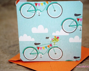 Blank Mini Card Set of 10, Summery Bicycle Design with Contrasting Pattern on the Inside, Tangerine Envelopes, mad4plaid