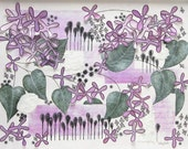 Lilac Flower Abstract - Modern Collage Calligraphy Typography Mauve Green White Textured 3D Wall Art