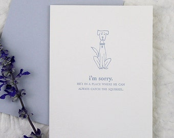 I'm sorry. He's in a place where he can always catch the squirrel - Letterpress Pet Sympathy Card