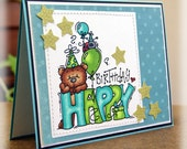 Happy Birthday Bear with Stars Handmade Birthday Greeting OOAK