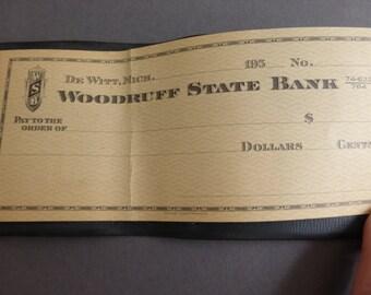 Vintage Mid Century Personal Check Book Woodruff State Bank Dewitt, Michigan
