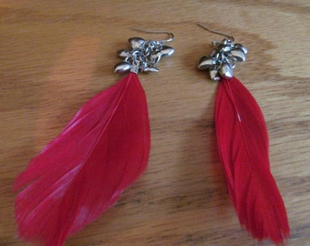 red feather heart dangles