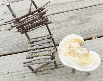 Primitive Mini Twig Chair, Fairy Chair, Fae Furniture, Rustic Wild Miniature Chair for your Faerie Garden or Display