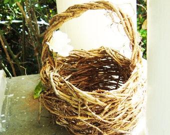 Rustic Twig Basket, Eco Conscious Wedding, Flower Girl Basket, English Ivy, ON