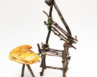Primitive Twig Chair, Fairy Chair, Fae Furniture, Rustic Wild Miniature Chair for your Faerie Garden or Display, Barometer Earthstar