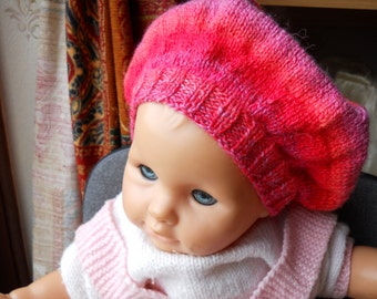 knitted baby girl  hat./ baby girl beret