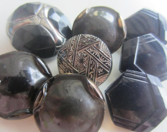 Vintage buttons, 8 assorted, coordinated and beautiful pressed glass and hand painted, black, some Victorian (june 49)