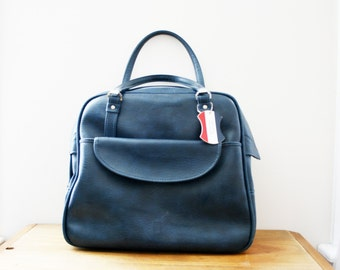 vintage 60s American Tourister Stormy Night Blue Weekender Tote