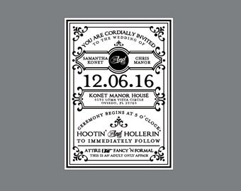 Rustic Wedding Invitations - Victorian Edwardian French Country Rustic Poster Style Wedding Invitations