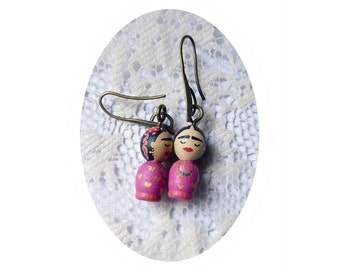 SHIPS AUGUST 3th - Mini earring pink FRIDA kahlo girl Hand painted ooak  wooden art doll wearable dangle flowers - Unique design pattern