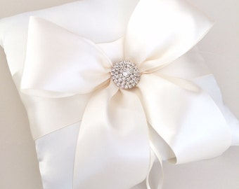 Ivory Ring Bearer Pillow - Silk Wedding Ring Bearer Pillow