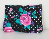 Floral Polka Dots Cosmetic Bag 1980s
