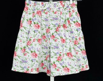 High Waist White Floral Shorts S