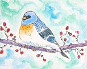 Gus the Bluebird, Original Watercolor Painting