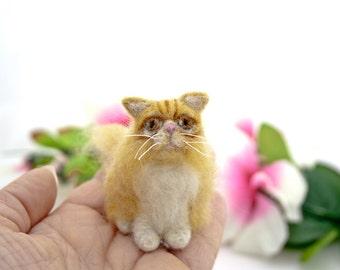 Orange Persian needle felted cat ornament, Custom pet portrait, Cat memorial