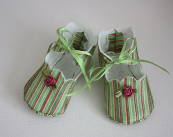 Green and Red Striped Darling Felt Baby Shoes