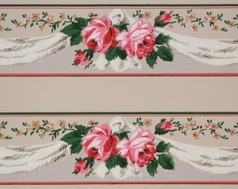 1940s Vintage Wallpaper Border Pink and Orange Roses with White Swag on Gray by the Yard