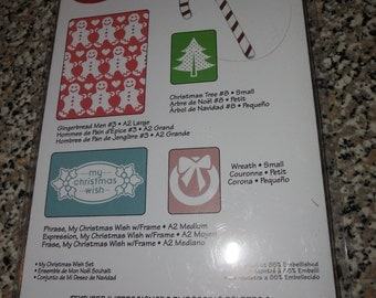 Sizzix Die Cut Templates & Embossing Folder, My Christmas Wish Set, 658194