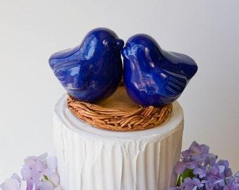 Cobalt Blue Love Bird Cake Topper