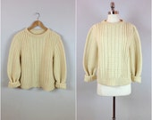 Ivory fisherman's sweater / Unisex cable knit / chunky cable knit sweater
