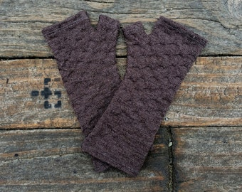 Soft brown merino wool textured knit fingerless gloves - knit arm warmers