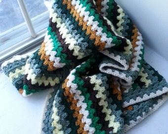 Woodland Crochet Granny Stripe Baby/Lap blanket