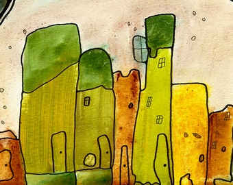 Artist Print Colorful Surreal Visionary Abstract Cityscape Art Painting Urban Cities Mixed Media Artwork Home Decor City Wall Art Gypsy Art