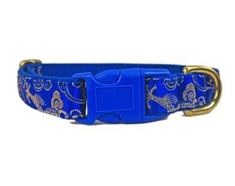 Blue Dog Collar - Fancy Dog Collar - Dog Collar with Dragons - Boy Dog Collar - Unique Dog Collar -  Custom Dog Collar - Any Size Dog Collar