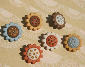 """Sunflower Buttons - Blue Orange Yellow Sunflower Shank Sewing Button - 3/4"""" Wide - 6 Buttons - FALL AUTUMN BUTTONS"""