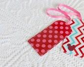 Aqua & Red -  Chevron Dots - Luggage Tag