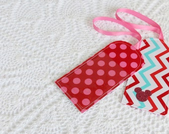 Aqua & Red -  Chevron Dots - Luggage Tag