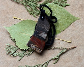 Tumbled agate and yarn necklace with hand-braided yarn cord - simple nature jewelry