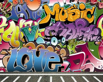 Graffiti Wall 10ft x 10ft Backdrop Computer Printed Photography Background CM-5665