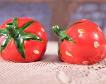 Strawberry Salt Pepper Shakers pottery Green Stems Summer table