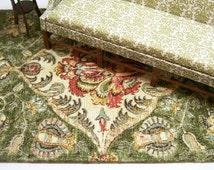Green Persian Large Rug Carpet Oriental 1:12 Dollhouse Miniature Artisan