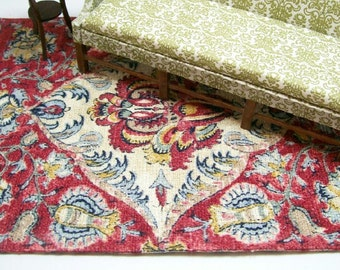 Red Persian Rug Carpet Oriental Blue 1:12 Dollhouse Miniature Artisan