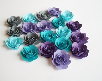 20 Cool water rolled paper flowers, wedding decoration, scrapbook decoration, table decoration, rosette, small flower, embellishment