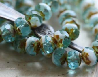 sale .. HAWAIIAN .. 10 Picasso Czech Rondelle Glass Beads 6x8mm (4632-10)